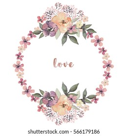 Watercolor floral illustration with flower wreath for wedding, anniversary, birthday, invitations, romantic events, valentine's day