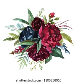 Watercolor floral illustration - flowers burgundy bouquet for wedding stationary, greetings, wallpapers, fashion, background. Peony, dahlia, rose, anemone, eucalyptus, olive, green leaves, etc.