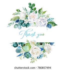 Watercolor floral illustration - frame / border with  bright white vivid flowers, green leaves, for wedding stationary, greetings, wallpapers, fashion, backgrounds, textures, DIY, wrappers, cards.