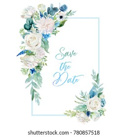 Watercolor floral illustration - frame with  bright white vivid flower bouquet, green leaves, for wedding stationary, greetings, wallpapers, fashion, backgrounds, textures, DIY, wrappers, cards.