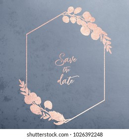 Watercolor floral illustration - geometric frame with gold textured silhouette flowers on grey background, for wedding stationary, greetings, wallpapers, fashion, background, wrapping, DIY.