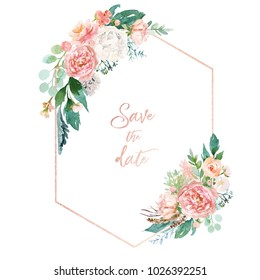 Watercolor floral illustration - geometric frame with bright peach color, white, pink, vivid flowers, green leaves, for wedding stationary, greetings, wallpapers, fashion, background, wrapping, DIY.