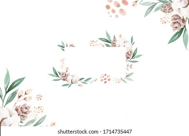 Watercolor floral illustration - geometric frame with bright peach color, white, pink, vivid flowers, green leaves, for wedding stationary greeting card. fashion, background, wrapping, DIY.