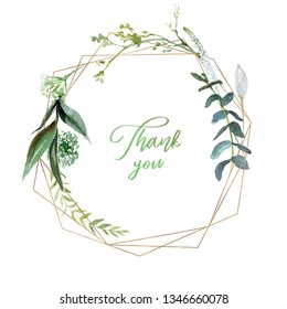 Watercolor floral illustration - geometric leaf frame / wreath, for wedding stationary, greetings, wallpapers, fashion, background. Eucalyptus, olive, green leaves, etc.