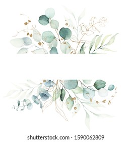 Watercolor floral illustration - green and gold leaf frame / border, for wedding stationary, greetings, wallpapers, fashion, background. Eucalyptus, olive, green leaves, etc.