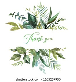 Watercolor floral illustration - leaf border / frame, for wedding stationary, greetings, wallpapers, fashion, background. Eucalyptus, olive, green leaves, etc.