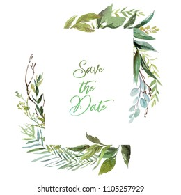 Watercolor floral illustration - leaf frame, for wedding stationary, greetings, wallpapers, fashion, background. Eucalyptus, olive, green leaves, etc.
