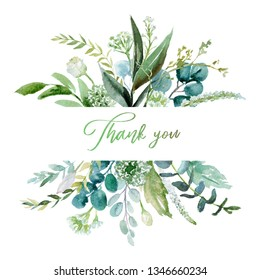 Watercolor floral illustration - leaf frame / border, for wedding stationary, greetings, wallpapers, fashion, background. Eucalyptus, olive, green leaves, etc.