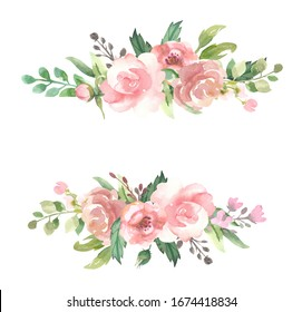 Watercolor floral illustration - leaves and branches frame with flowers and leaves for wedding stationary, greetings, wallpapers, background. Roses,  green leaves.