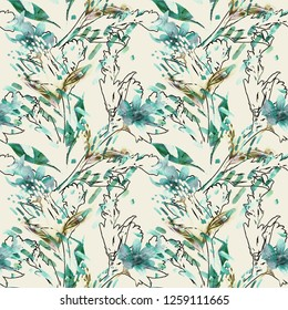 Watercolor Floral Illustration. Nature Surface Pattern. Hand Painted Seamless Background.