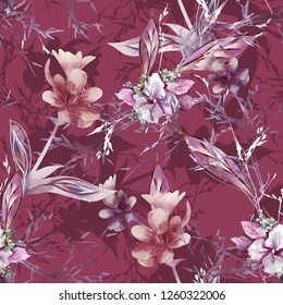 Watercolor Floral Illustration. Nature Surface Pattern. Hand Painted Seamless Background with Flowers and Grasses.