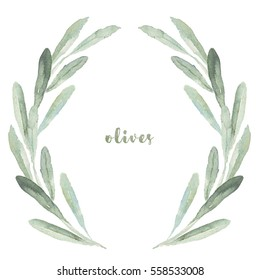 Watercolor floral illustration with olive branches wreath