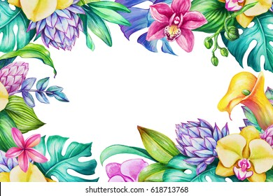 watercolor floral illustration, paradise nature, tropical flowers frame, orchid, hibiscus, calla lily, green palm leaves, wild jungle background, blank card template