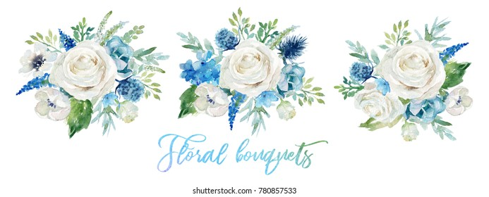 Watercolor floral illustration - set of 3 bouquets with bright white vivid flowers, green leaves, for wedding stationary, greetings, wallpapers, fashion, backgrounds, textures, DIY, wrappers, cards.