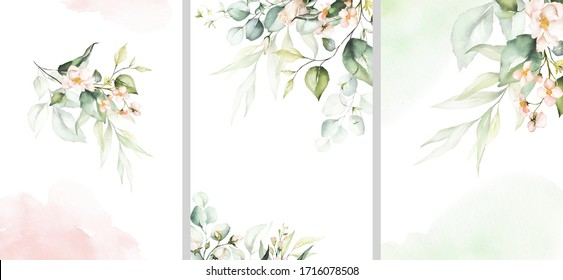 Watercolor floral illustration set - collection of green pink frame, border, bouquet, for wedding stationary, greetings, wallpaper, fashion, posters, background. Eucalyptus, olive, green leaves, rose.