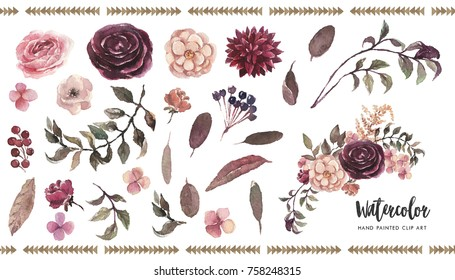 Watercolor floral illustration set, DIY elements - perfect for flower bouquets, wreaths, arrangements for wedding, anniversary, birthday, invitations, greetings, cards