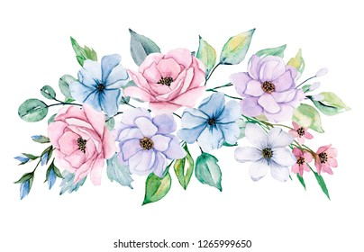 Watercolor floral illustration, spring flower bouquet. Pink and violet peonies hand drawing. Isolated on white. Perfectly for print design greeting card, wedding decoration, poster, invitation.