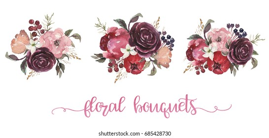 Watercolor floral illustration - three beige, burgundy, pink flower bouquets with beige, pink, burgundy, peonies, roses for wedding, anniversary, birthday, etc. invitations.
