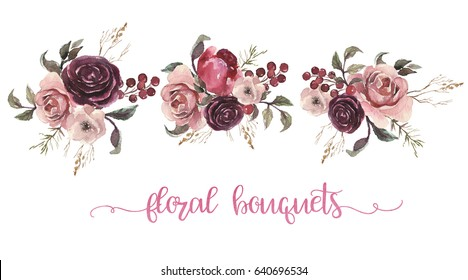 Watercolor floral illustration - three flower bouquets with feathers for wedding, anniversary, birthday, etc. invitations