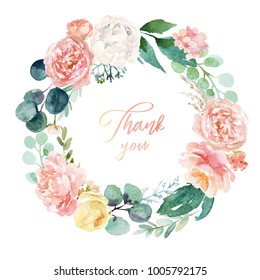 Watercolor floral illustration - wreath with bright white, pink vivid flowers, green leaves, for wedding stationary, greetings, wallpapers, fashion, backgrounds, textures, DIY, wrappers, cards.