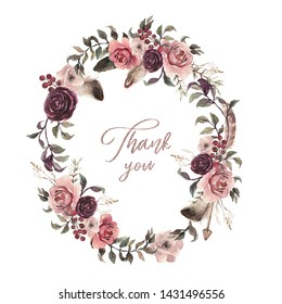 Watercolor floral illustration - wreath with bright pink vivid flowers, green leaves, feathers for wedding stationary, greetings, wallpapers, fashion, backgrounds, textures, DIY, wrappers, cards.