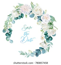 Watercolor floral illustration - wreath with  bright white vivid flowers, green leaves, for wedding stationary, greetings, wallpapers, fashion, backgrounds, textures, DIY, wrappers, cards.