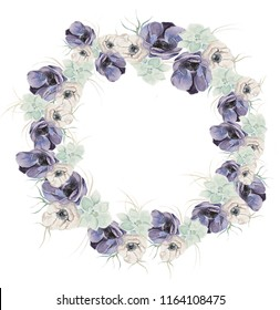 Watercolor floral illustration - wreath / frame with bright color, lilac, green flowers and green succulents, for wedding stationary, greetings, wallpapers, fashion, background, texture, wrapping