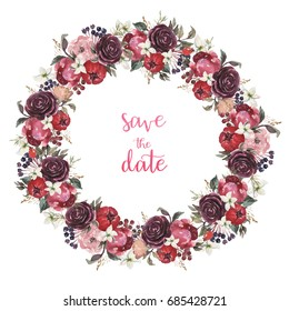 Watercolor floral illustration wreath with rose and peony flowers and leaves, for wedding stationary, greetings, wallpapers, fashion, backgrounds, textures, DIY, wrappers, postcards, logo, etc.