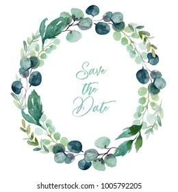 Watercolor floral illustration - wreath with vivid green leaves and branches, for wedding stationary, greetings, wallpapers, fashion, backgrounds, textures, DIY, wrappers, cards.