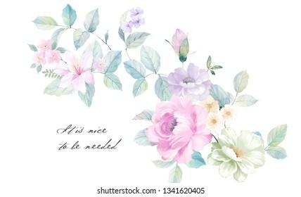 watercolor floral illustration,Big Set watercolor elements