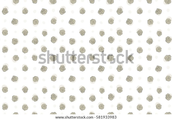 Watercolor floral image with neutral rose flowers. Raster seamless pattern on a white background.