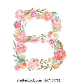 Watercolor Floral Monogram Letter B Alphabet Flowers