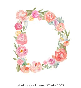 Watercolor Floral Monogram Letter D on Isolated White Background
