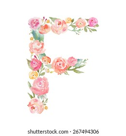 Watercolor Floral Monogram Letter F.
