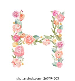 Watercolor Floral Monogram Letter H on Isolated White Background.