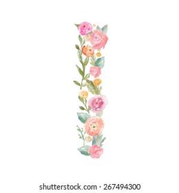 Watercolor Floral Monogram Letter I.