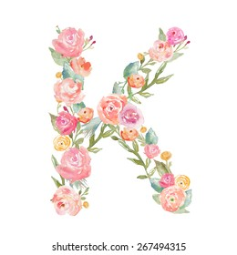 Watercolor Floral Monogram Letter K