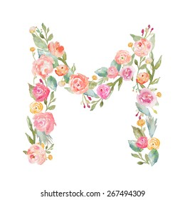 Watercolor Floral Monogram Letter M.