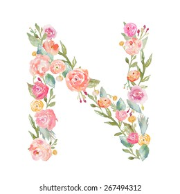 Watercolor Floral Monogram Letter N