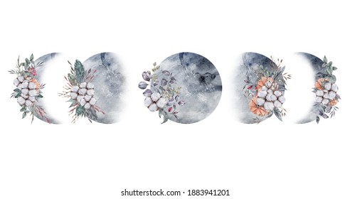Watercolor floral moon phases clipart, celestial illustration set on whote background, moon phases logo, printable poster, sublimation , print. Can be used for patterns, scrapbook paper