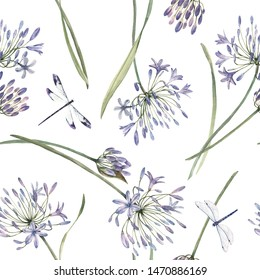 Watercolor floral pattern with allium flowers, leaves and dragonflies.