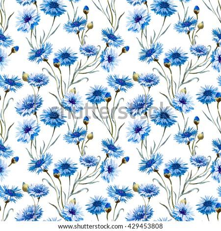 Watercolor floral pattern blue flower cornflower stock illustration watercolor floral pattern blue flower cornflower delicate wallpaper on a white background spring mightylinksfo