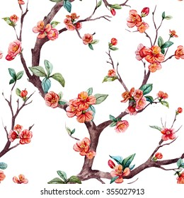 watercolor floral pattern cherry, flowering trees, small flowers on the tree, peach, apricot