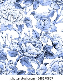 Watercolor floral pattern of Chinese style. Monochrome blue pattern on a white background