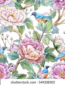 watercolor floral pattern of Chinese style. Spring seamless wallpaper with flowers.starling bird