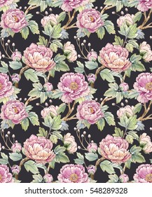 Watercolor floral pattern of Chinese style.Spring floral pattern with peonies.  black background