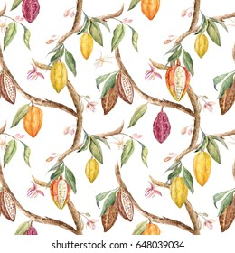 Watercolor floral pattern of cocoa on the tree, flowers and leaves. Retro wallpaper