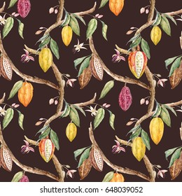 Watercolor floral pattern of cocoa on the tree.  Dark background