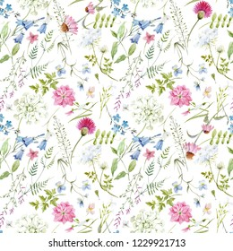 Watercolor floral pattern, delicate flower wallpaper, wildflowers pink,tansy, pansies. bluebell, white flowers queen anne's lace. retro.