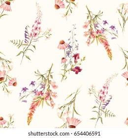Watercolor floral pattern, delicate flower summer  wallpaper   snapdragon,  echinacea, lupine and other wild flowers. Pink and blue flowers